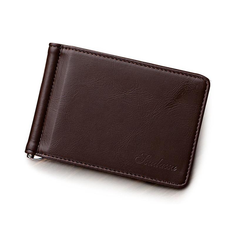 New Arrival Slim Men's Leather Money Clip Wallet With Card Slots Metal Clamp Photo Holder Small Purse For Man