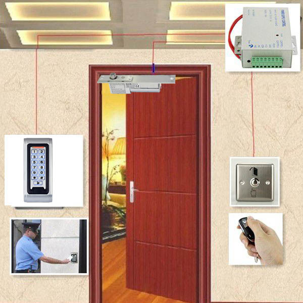 Door Access Control System Kit RFID Reader Electric mortiser is locked up + Power Supply + Door Entry keypad + Remote Controller biometric fingerprint access controller tcp ip fingerprint door access control reader