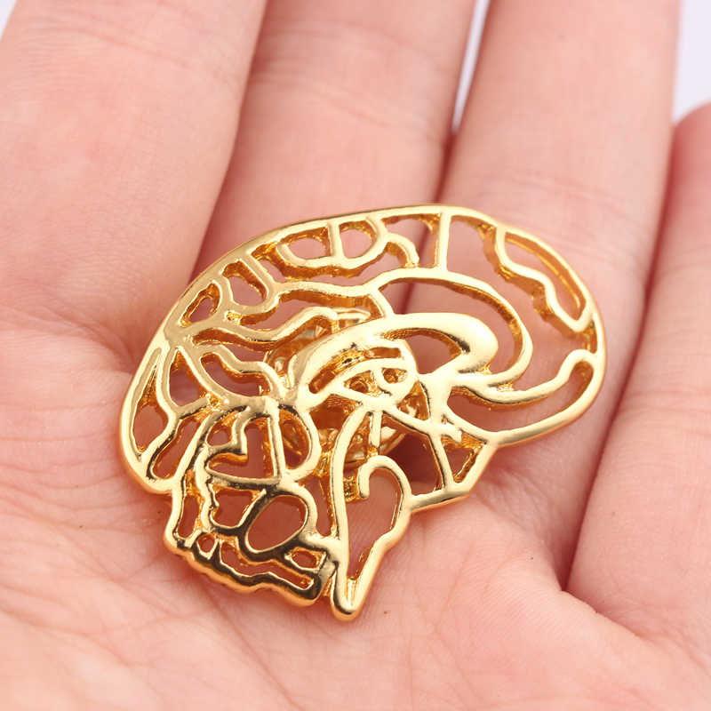 Free Shipping Neurologist Brooches Pins Gold Color Medical Jewellery Anatomical Gift For Doctor Nurse Birthday