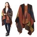 1 PC 2017 Outono Inverno Quente Mulheres Cashmere Lenço da Manta de Retalhos Cobertor Manto Poncho Cabo Poncho Envoltório do Xaile Pashmina