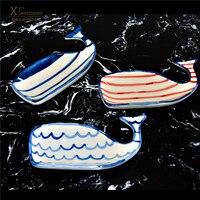 High quality dolphin dessert dish whale snack plat dessert bowl creative mermaid bowl whale dish Christmas plates Cake plate