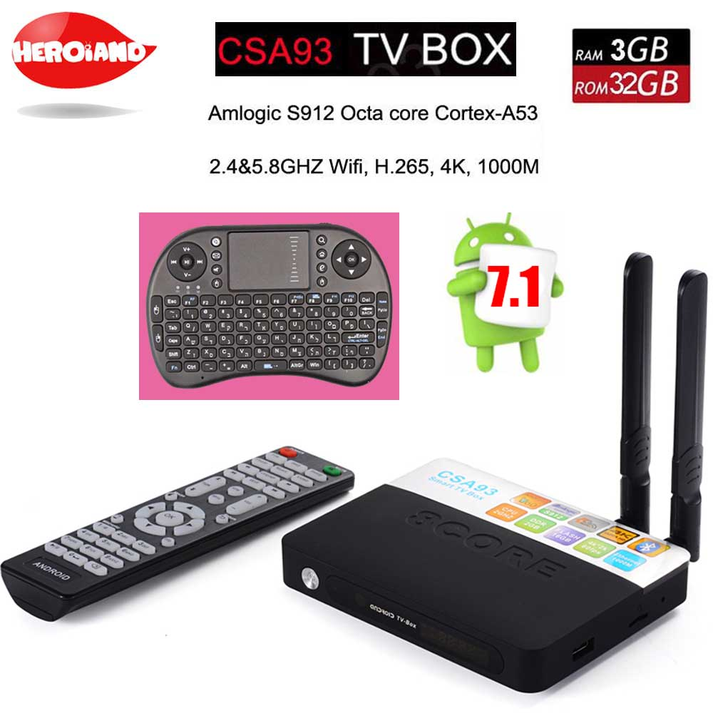 3GB 32GB Android 7.1 smart TV Box CSA93 Amlogic S912 Octa Core Wifi BT4.0 4K 1000M LAN Streaming Smart Media Player+i8 keyboard