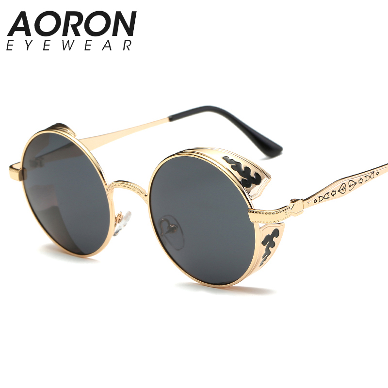 AORON Men Polarized Gothic Steampunk Sunglasses Coating Women Mirror Round black Sun glasses Retro font b