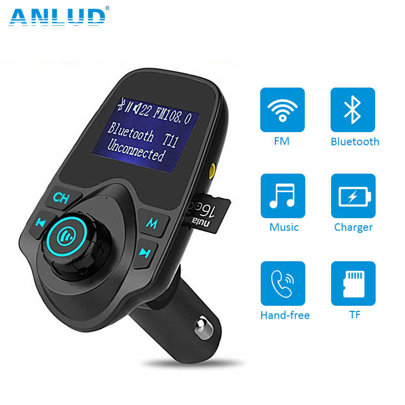אלחוטי Bluetooth FM משדר FM מודולטור דיבורית לרכב רדיו מתאם USB מטען MP3 נגן מוסיקה עבור iPhone סמסונג