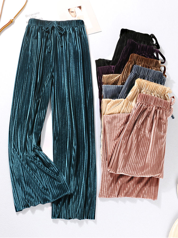 DASSWEI Leg-Pants Trousers Elastic Loose High-Waist Wide Femme Casual Summer Women New-Fashion