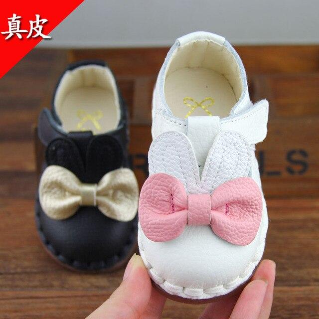 Продвижение 2016 Натуральная Кожа Девочка Детская Обувь Малышей Принцесса Обувь Мягкой Подошвой Обуви с Бантом Первые Ходунки