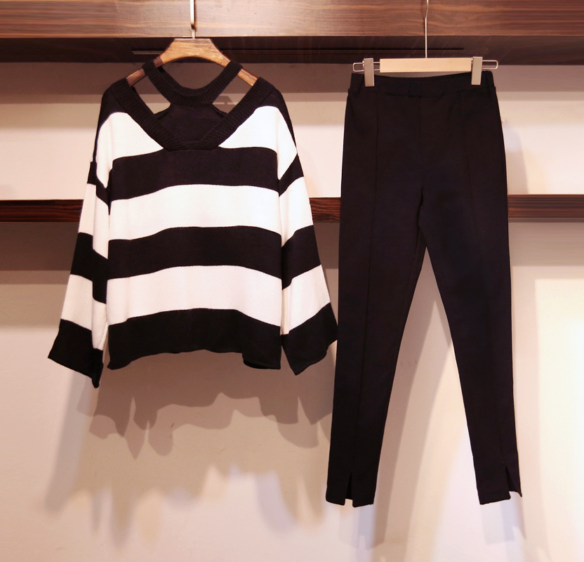 autumn winter 2018 new women striped 2 pieces pant set knitted loose sweaters and pencil pant