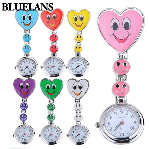 New Style Fashion Ladies Women's Cute Smiling Faces Heart Clip-On Pendant Nurse Fob Brooch Pocket Watch
