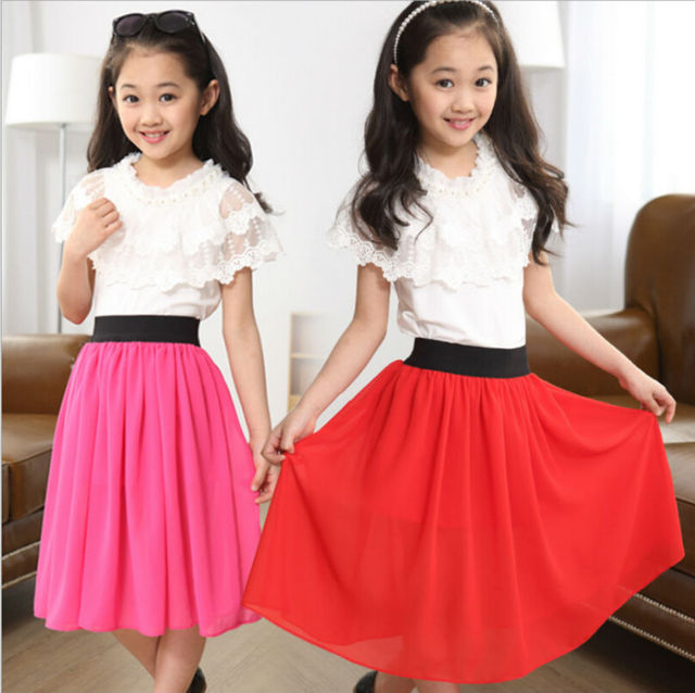Well-liked 2015 new 3 12Ys kids girls clothing set Chiffon lace top blouse+  QC28