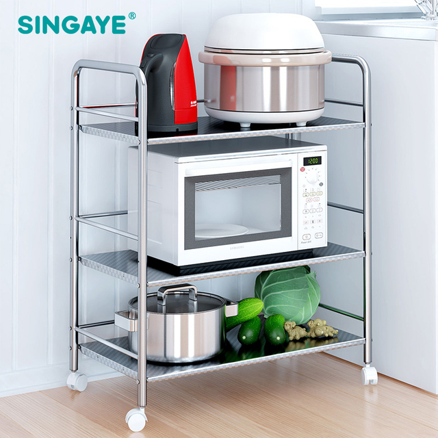 SINGAYE DIY Three Layer Multi function Shelf with Removable Wheels ...