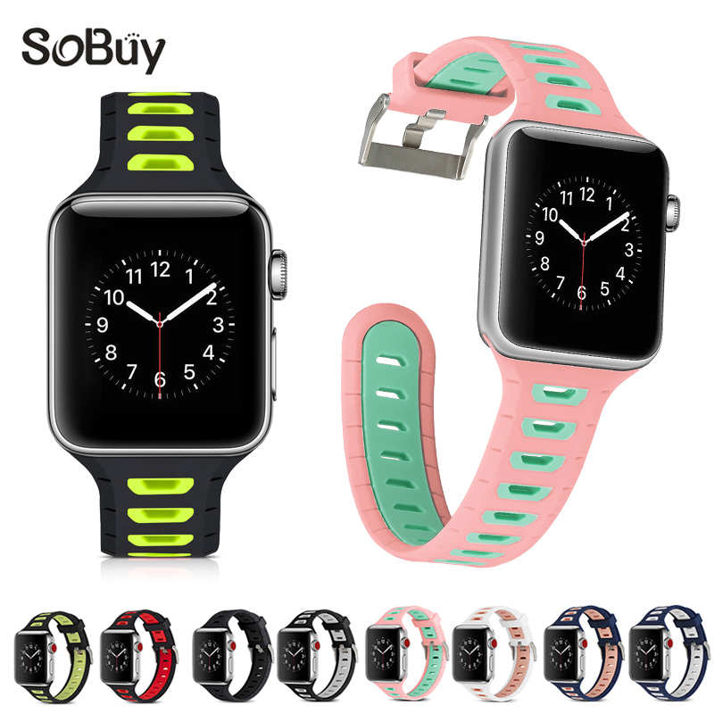 So buy for Apple Watch Series 3 2 1 38mm band 42mm Sport Strap Silicone Wrist belt iwatch rubber Bracelet Silica gel watchband so buy for apple watch sport 1 2 3 series 38mm band 42mm silicone wrist strap stainless steel adapter for iwatch rubber bracelet