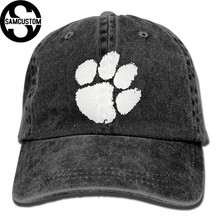 SAMCUSTOM Tiger white paw 3D Creative personality Washed Denim Hats Autumn Summer Men Women Golf Sunblock Hockey Caps(China)