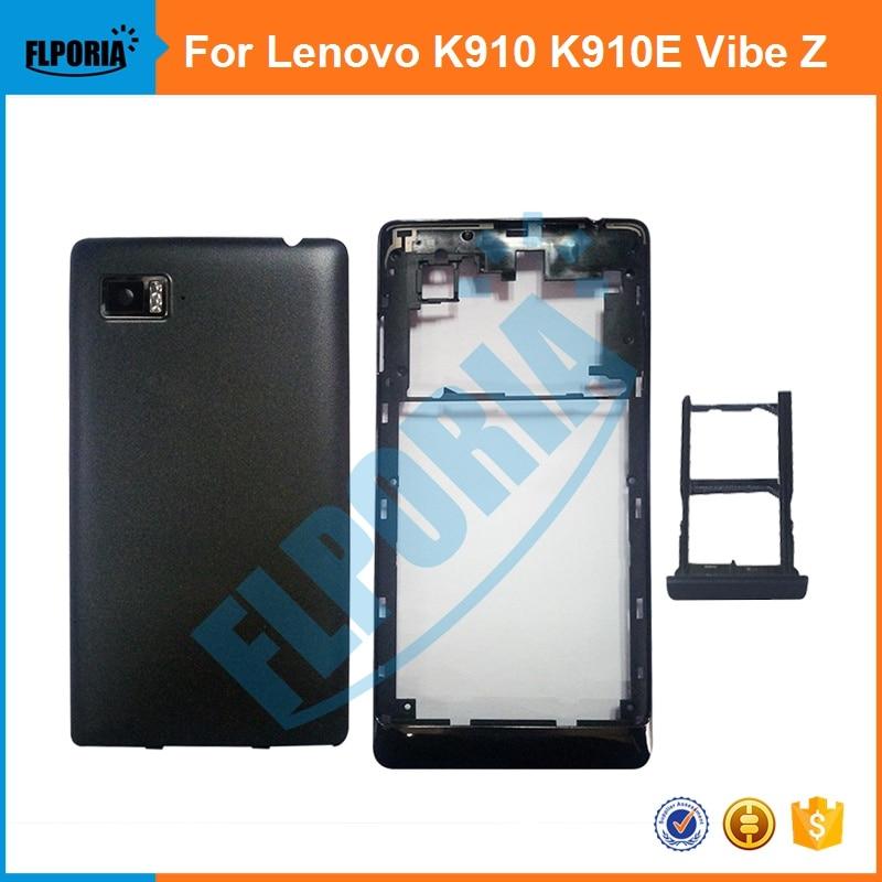 pretty nice 92c39 b5f66 US $12.8 7% OFF|FLPORIA 1PCS For Lenovo K910 K910E Vibe Z New Middle Frame  + Battery Back Cover + SIM Card Tray Housing Case-in Mobile Phone Housings  ...