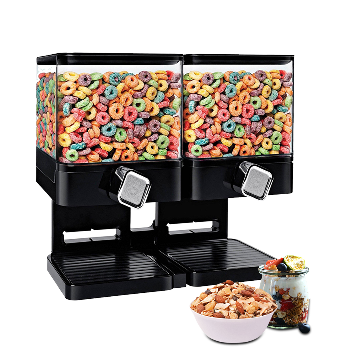 Plastic double cereal dispenser storage dry food snack container plastic double cereal dispenser storage dry food snack container wall mounted kitchen canister fresh contain box for kids food in storage bottles jars ccuart Images