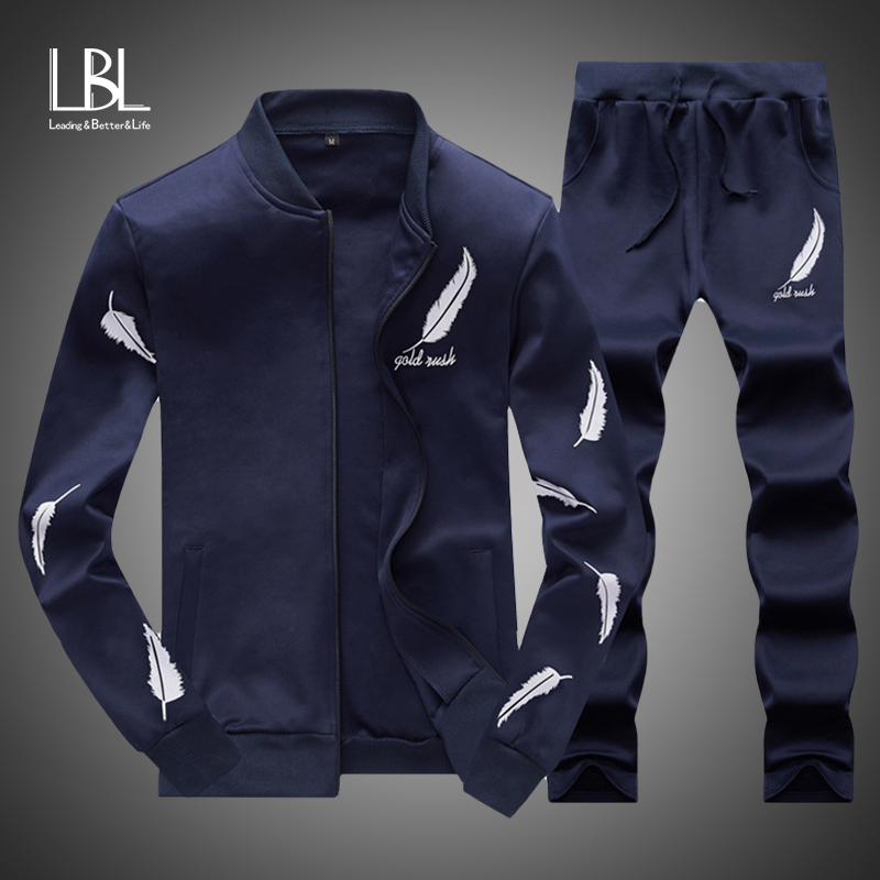 Men Feather Print Sets Autumn Two Pieces Casual Tracksuits Male Zipper Sweatshirt+Sweatpants Suits Men Plus Size 2PC Sportswears
