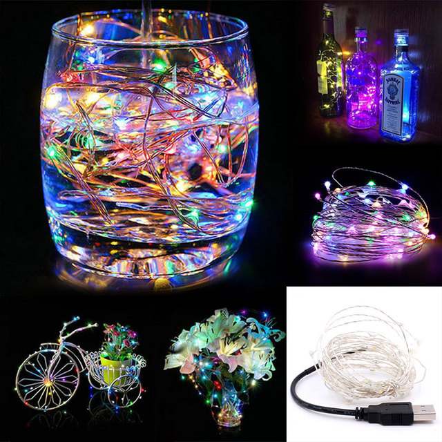 USB 100 LEDs Copper Wire lights 10M string lights Battery box for christmas light festival wedding party or Home decoration lamp