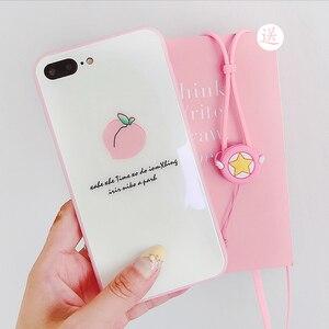 Image 5 - Roze liefde Voor iPhone 8 plus glas back case + front gehard glas voor iPhone X 6 6 splus Perzik case voor iphone 7 7 plus + strap