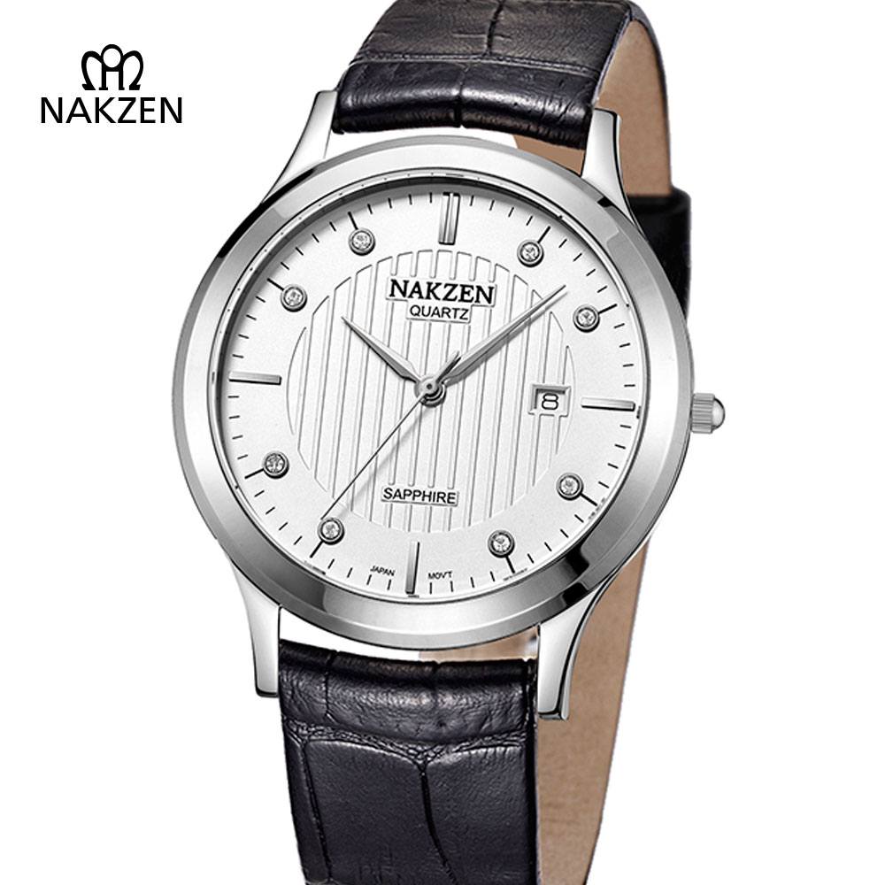 NAKZEN Business Luxury Man Quartz Watch Men Fashion Ultrathin Sapphire Watch Male Leather Casual Calendar Clock Erkek Kol Saati business men dress watch mens fashion quartz watches analog calendar steel male wristwatches kicadn casual clock erkek kol saati