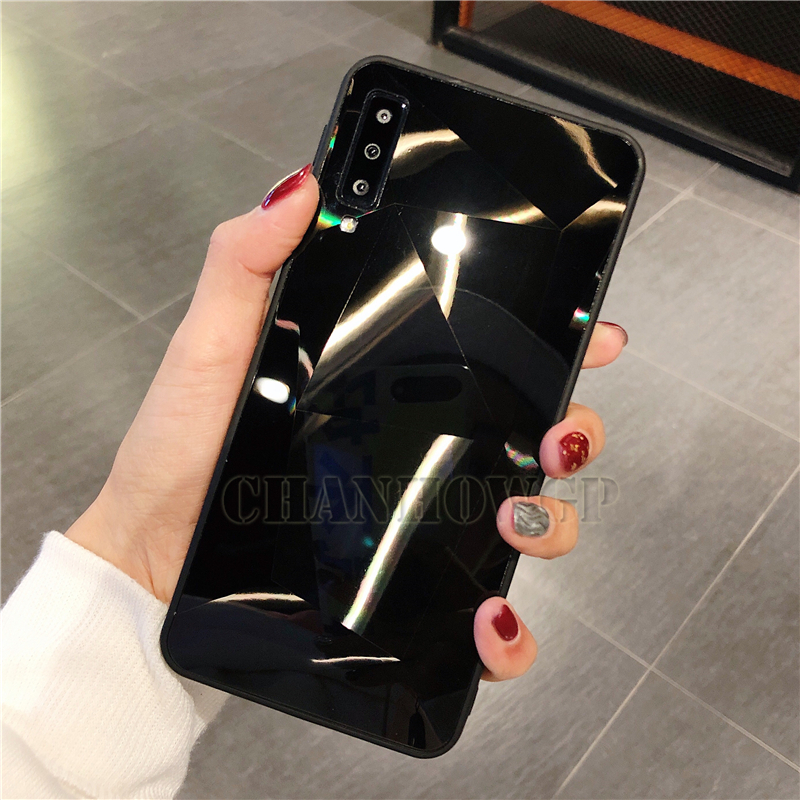 Зеркальный чехол для samsung Galaxy A70 A50 A30 A10 M30 M20 M10 S10 S10e S8 S9 A9 A7 A8 J4 J6 J8 плюс Note9 Мягкая обложка - Цвет: Черный