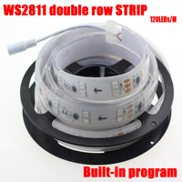 5M/lot IP67 silicone tube waterproof double row ws2811 led strip dc12v 120leds/m not need controller auto change color