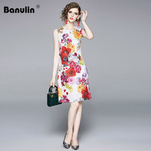 Banulin 2019 Fashion Runway Summer Dress Women's Sleeveless Casual White Floral Print Elegant Short Dress Mini Party Vestidos banulin high quality runway party short dress women summer fashion sexy sleeveless mini floral print short sleeve beach dress
