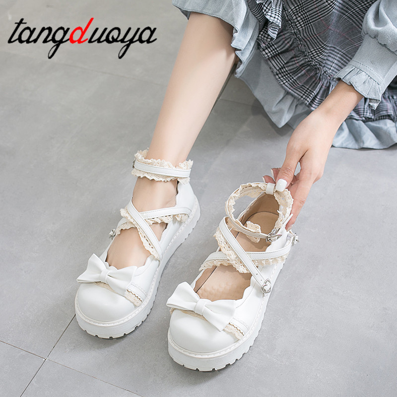 Lolita Shoes Women Japanese Sweet White Red Black Cosplay Shoes Kawaii Shoes Women Lolita Sneakers Cute Shoes Zapatilla Mujer