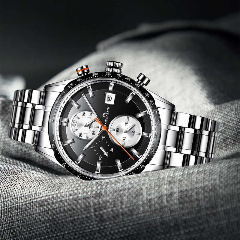 Image 5 - MEGALITH Fashion Chronograp Men's Watch Analog Quartz 24 Hour Date Watches Man Waterproof Men Sport Full Steel Wrist Watch Clock-in Quartz Watches from Watches