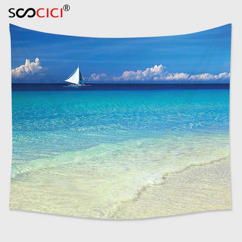 Cutom Tapestry Wall Hanging,Ocean Blue Sailboat Decor Exotic Tropic Beach in Philippines Island Horizon Summer Paradise Concept