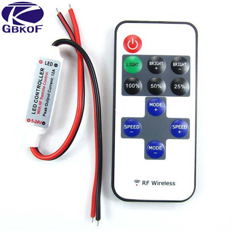 GBKOF Single Color LED Strip Dimmer RF Wireless Remote Controller For 3528 2835 5050 5630 5730 Led Tape Free Shipping
