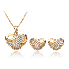 hot deal buy new christmas gifts fashion women two-piece necklace pendant love crystal jewelry dubai bridal fine jewelry sets