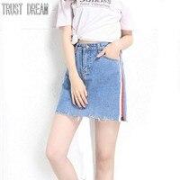 TRUST DREAM Spring Summer Europeans Style Women Spliced Slim Denim Skirt Tassel Female Quality Street Women