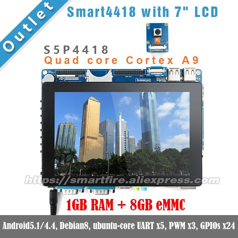 Smart4418 whit 7LCD,1.4GHz,1GB RAM,8GB eMMC Quad core Cortex A9 S5P4418 ARM FriendlyARM Android linux DEMO Board friendlyarm nanopi neo2 demo board 512mb 1gb ram heatsink 5v 3a power adapter usb to ttl 8gb card usb cable nanopi neo2 kit e b
