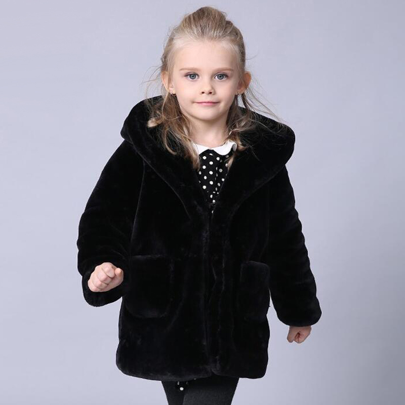 Children Faux Fur Winter Coat for Boys Girls Hooded High Quality Outerwear Black Parkas Thicken Velvet Warm Coat Kids Clothes children thicken warm winter coat kids cotton padded jacket wadded outwear thickening boys girls fur hooded parkas clothes y105