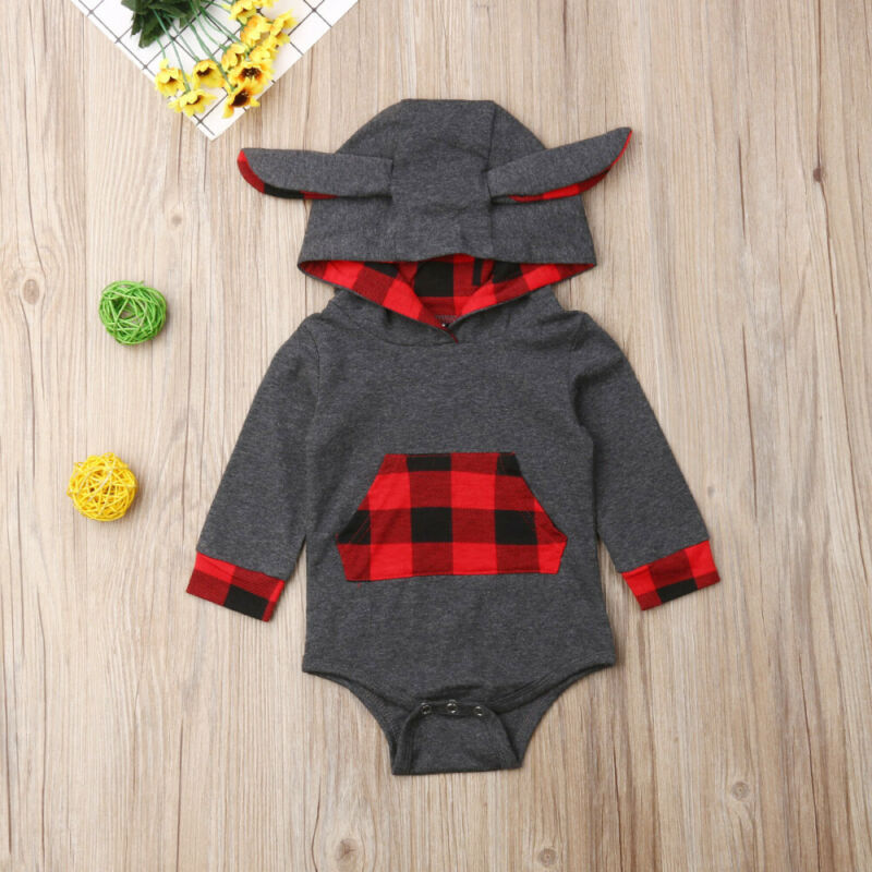 0 24M Newborn Baby Boy Romper Christmas Red Plaid Jumpsuit Long Sleeve Autumn Winter Baby Boy Costumes Xmas Clothes in Rompers from Mother Kids