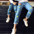 Family Matching Outfits Mother Daughter Clothes Kids Jeans for Children Smile Happy Pattern Cartoon Boys Pants Korean Style