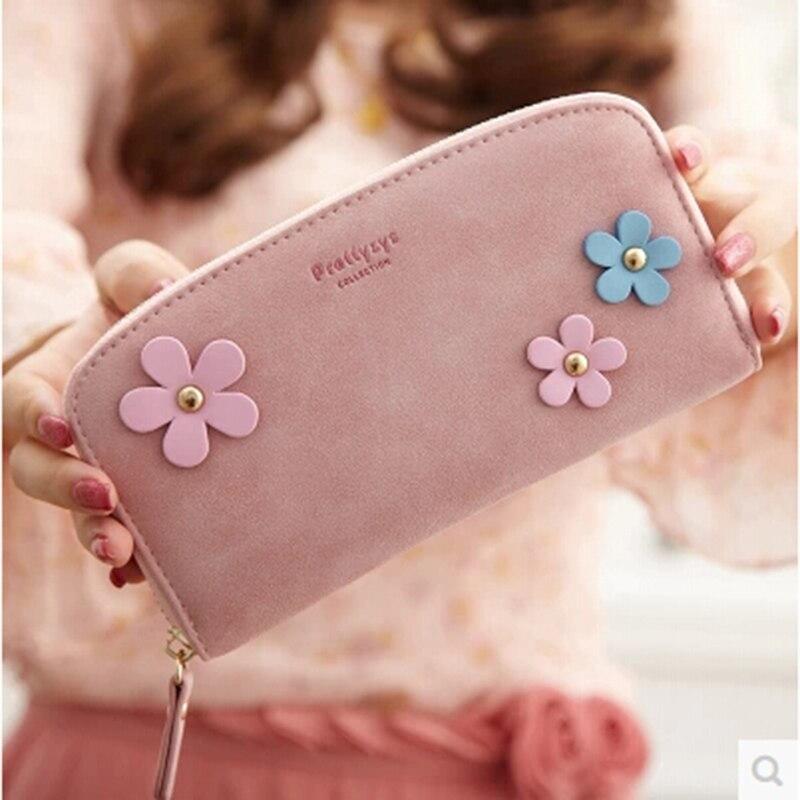 Big women wallets and purses vintage money bags korean long female wallet with flower ladies purse wristlet portefeuille femme