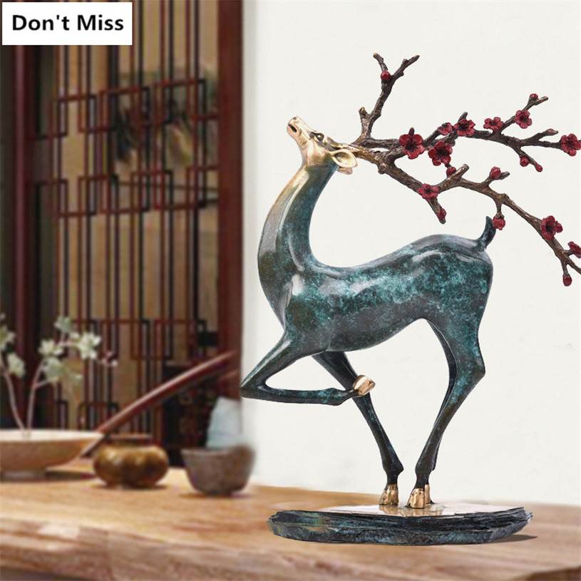 Bronze Sika Deer Statue Office Home Decorations Accessories Creative Gift Sculpture Sika Deer Figurine Decoration Ornament Craft