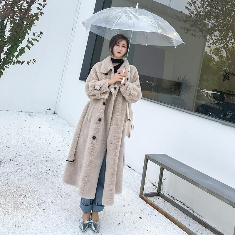 Femmes 100% Laine Manteaux Long 2018 Mode D'hiver Agneaux Fourrure Femelle Vestes Lâche Grand Code Pardessus Épais Fourrure Chaude Multiples couleurs
