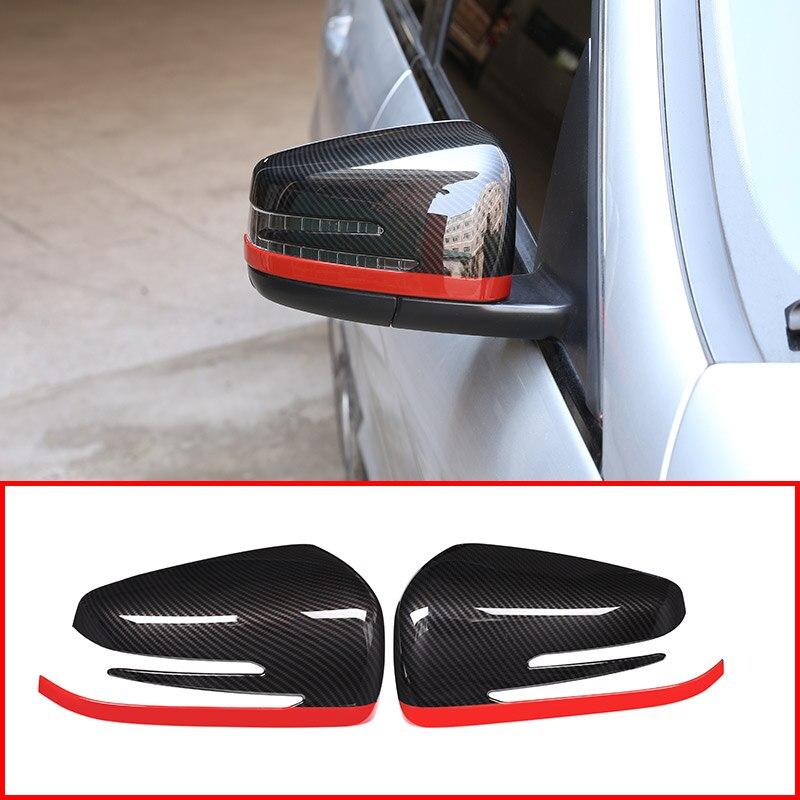 2x fibre de carbone rouge Style pour Mercedes Benz A CLA GLA GLK classe W176 W117 X156 X204 ABS côté porte rétroviseur couvercle garniture