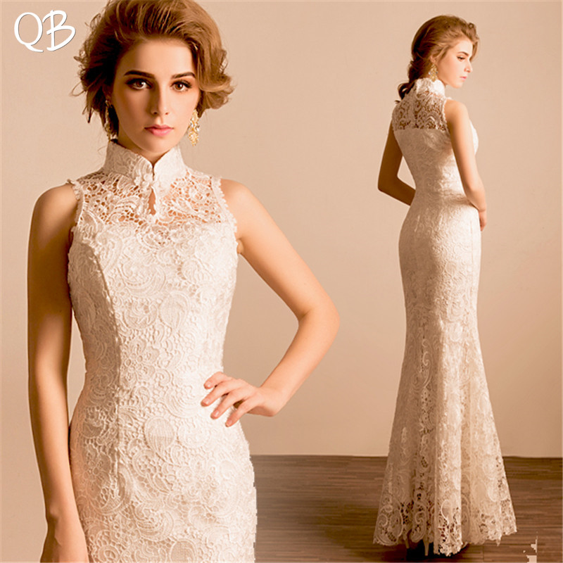 Ivory Mermaid High Neck Lace Appliques Sexy Simple Wedding Dress 2020 New Fashion Bridal Dresses Wedding Gowns WE19