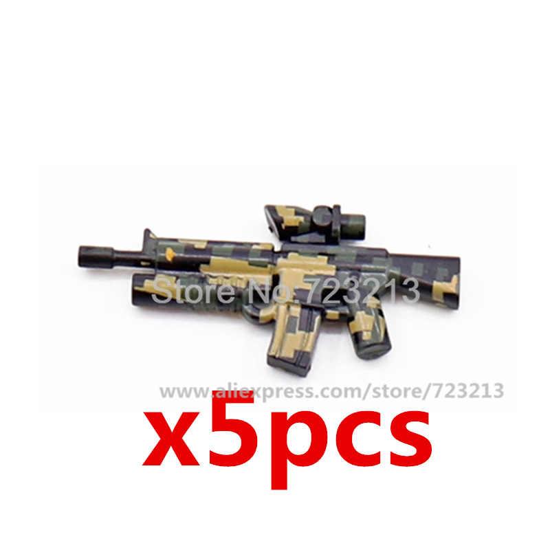 AK47 5 adet Camo silah askeri silah seti Carbines silahlar makineli SWAT parça MOC aksesuarları takım elbise yapı taşları tuğla oyuncak