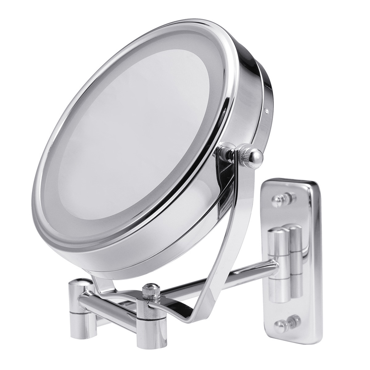 "6"" Diameter Bathroom Shaving Makeup Mirror With LED Lights Wall Mount Two Sides Extendable Rotate Cosmetic Mirror Magnifying 7X 3"