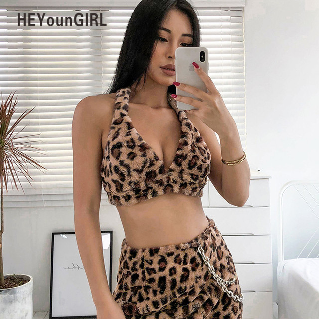c1be85c10a HEYounGIRL Furry Leopard Print Halter Tank Tops Tees Backless Sexy Crop Top  Women Streetwear Sleeveless Cropped Womens Party
