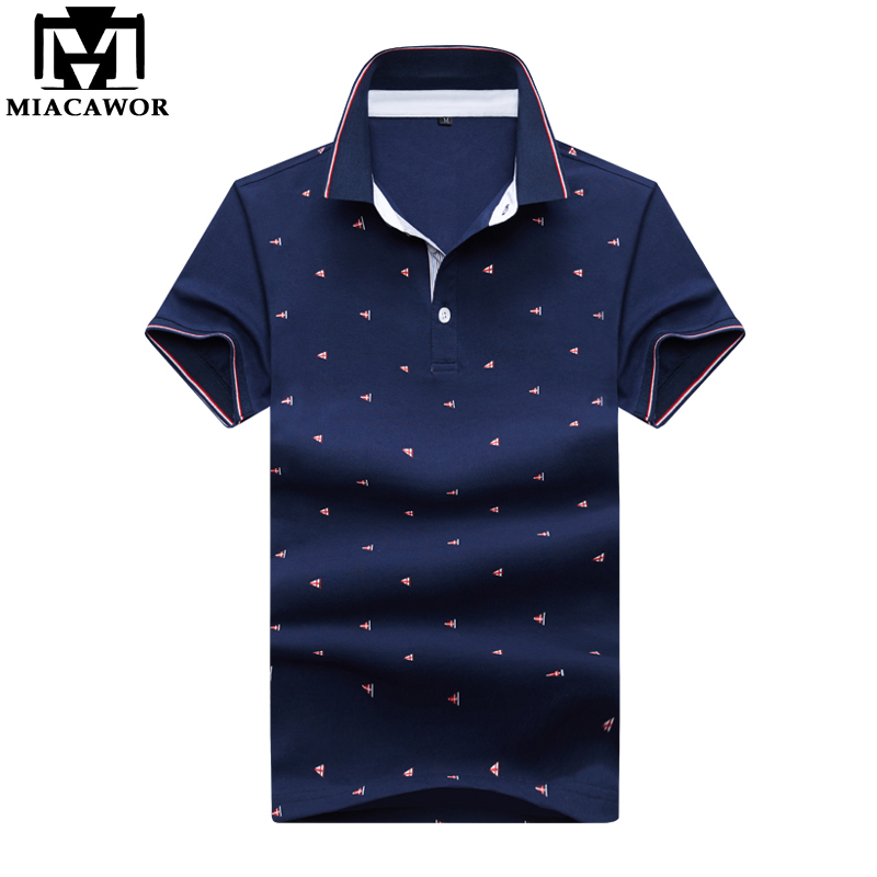 MIACAWOR New Fashion Print Men   Polo   Shirt Slim Fit Summer Short-sleeve   Polo   Casual Men Camisas   Polo   Male Tops Tees MT638