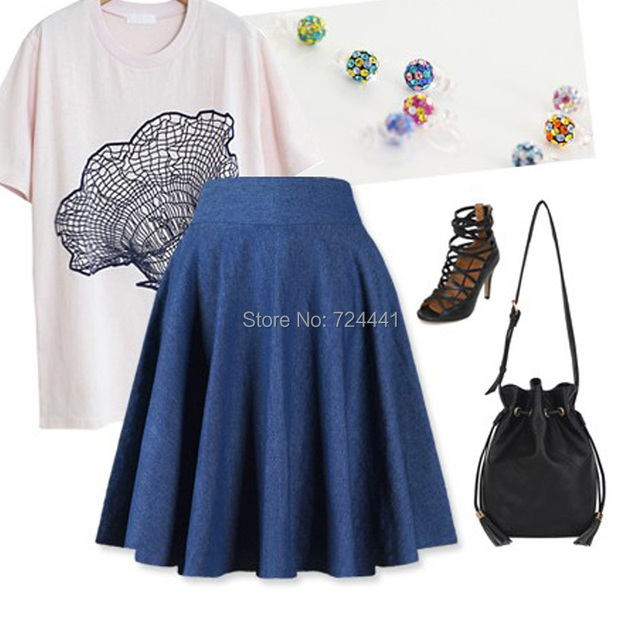 d7cebec5f46 Women Spring Denim Skirts Fashion 2015 Blue Pleated Skirts Large Plus Size  Slim Summer Skirts XXS-7XL Free Shipping