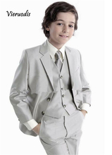 New Childrens Grey Party Suits Wedding Grommsman Best Man Kids Formal Tuxedos 4 piece set