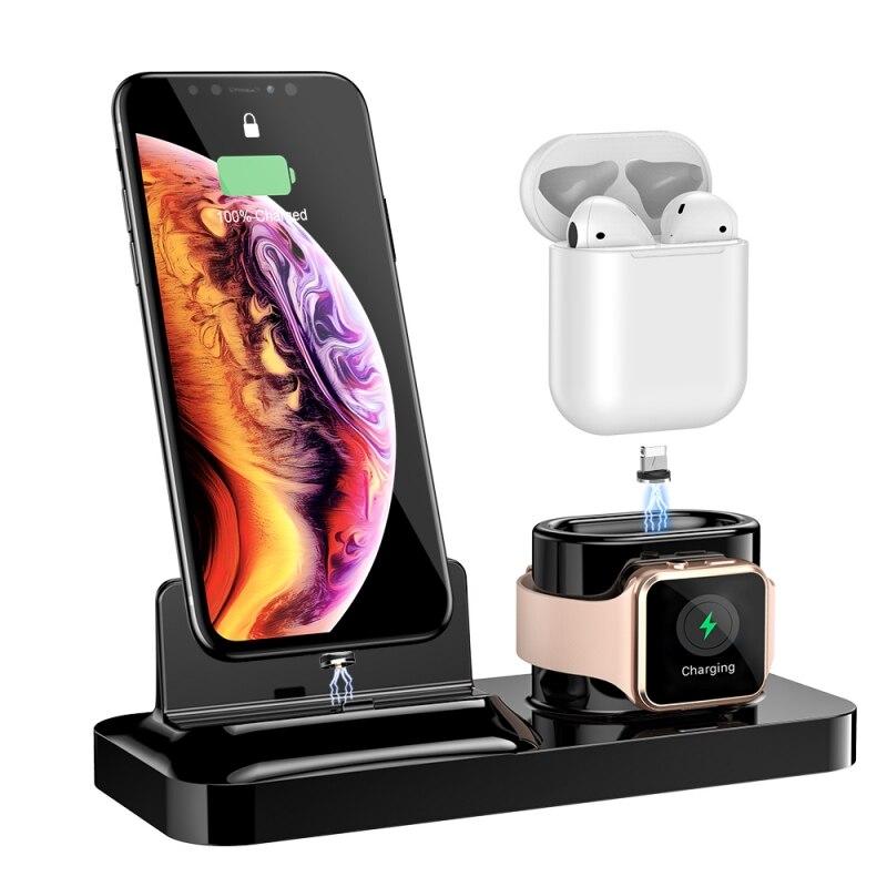 3-en-1 téléphone portable montre casque chargeurs (magnétique) sans fil chargeur adaptateur support Pad pour téléphone portable montre-bracelet écouteurs