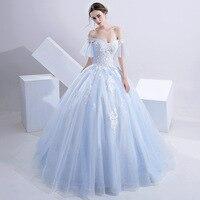Sweet Baby Blue Off The Shoulder Beading Lace Vestidos De Novia Sequin Wedding Dresses Robe De Marriage Bridal Gowns