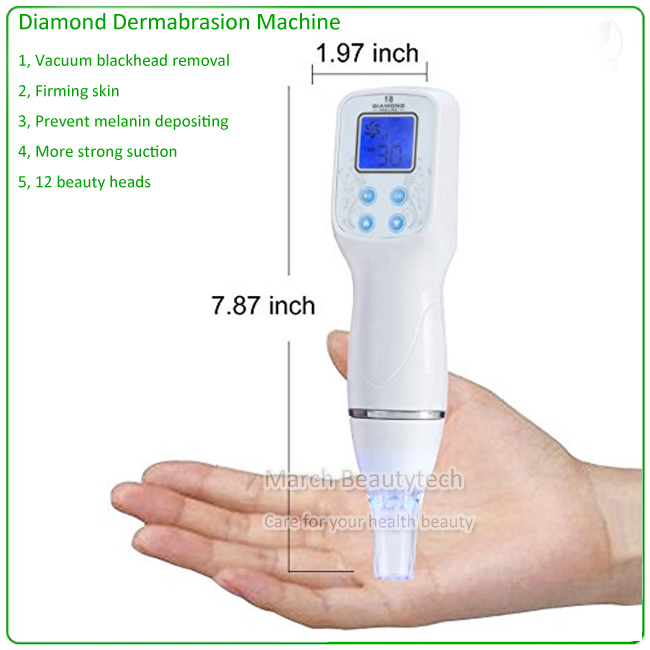 Newest 12 Tips Replacement Beauty Heads Electric Vacuum Blackhead Remover Machine Diamond Dermabrasion Beauty Instrument silver 2 heads 2015 new best personal dead blackhead removal diamond microdermobrasion machine