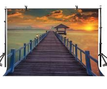 150x220cm Ocean Wood Road Backdrop Beautiful dusk Ocean View Wood Road Photography Background for Camera Photo Props недорого